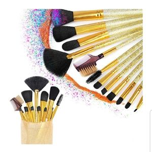 Gold Glittery 12 piece Make Up Brush Set